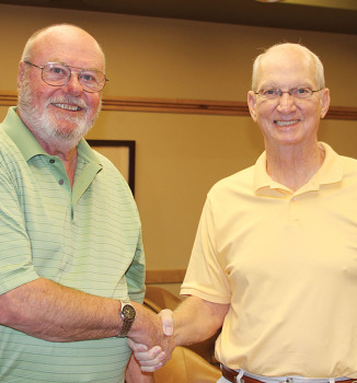 Left to right: Doug Kant, runner-up from last year's tournament, and Ken McManus, Tournament Director