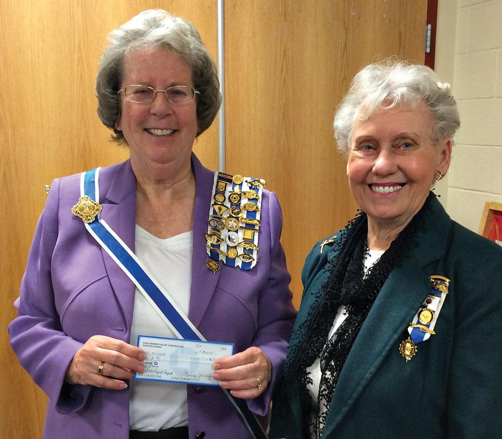 State Regent Gillian Morse, left, and Regent Gail Piggott