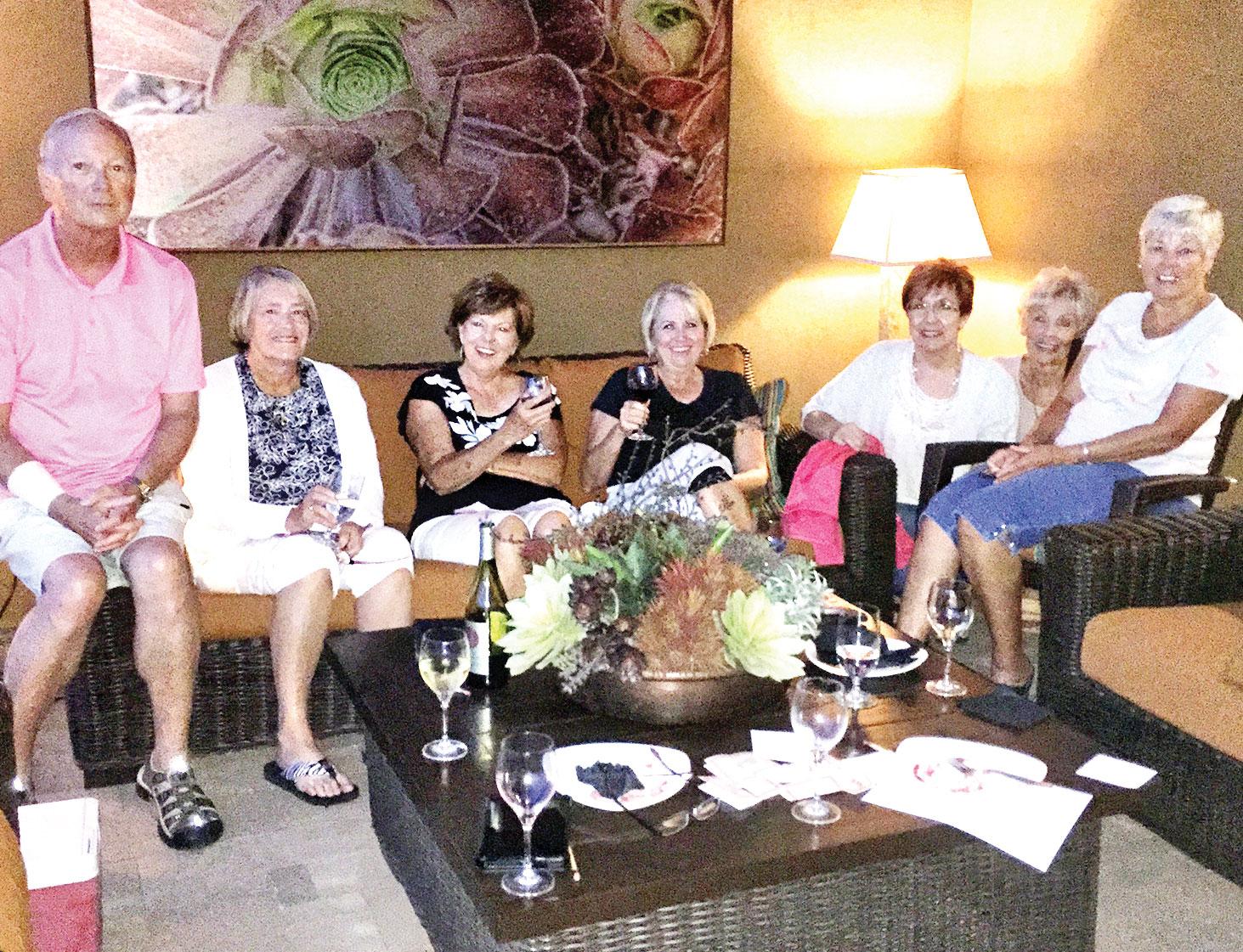 Members of Reading Between the Wines: Scott Kincaid, Julie Kostroski, Joanne Heiman, Debby Harris, Betsy Piatt, Mary Lynn Morin amd Claudia Horak. Missing: Debbie Olguin, Barbara Sewell and Linda Gayer