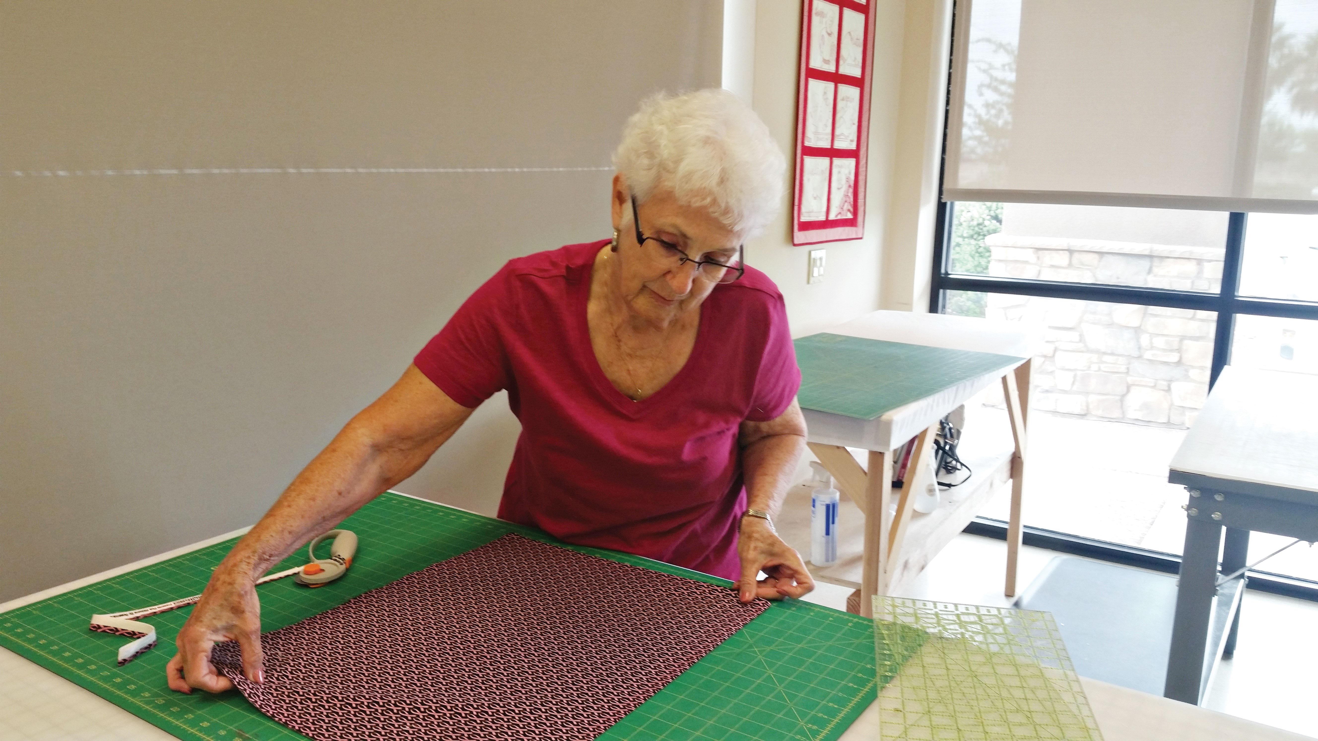 Dottie Welsh works on her next quilt.