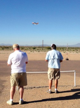 Jerry Linderman, left, and Ron St Pierre flying model aircraft on a Saturday morning