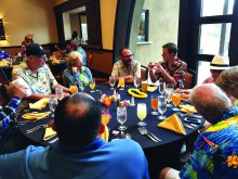 Group picture of the dinner at the Luau