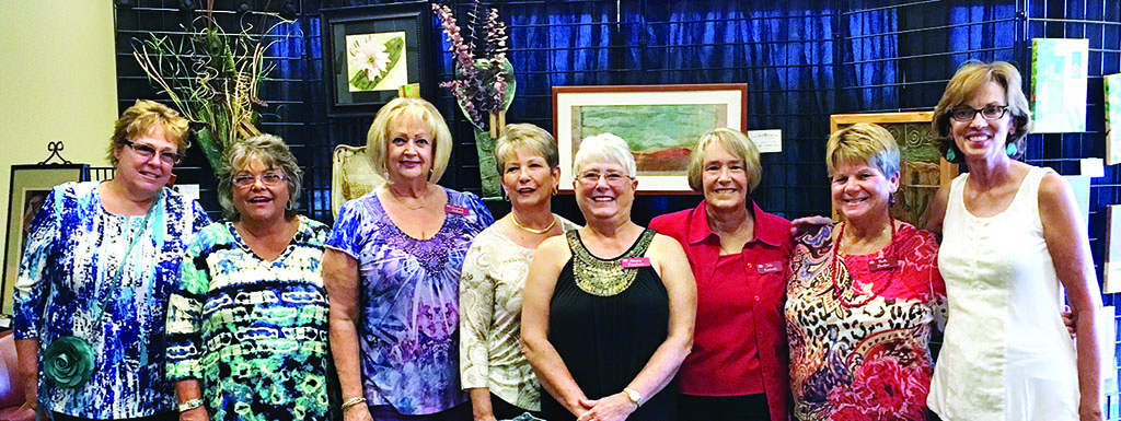 Left to right: Mary Ann Bechtel, Janet Bloam, Christine Holland, Paula Lambert, Nancy Friedman, Julie Kostroski, Beth Durfee and Dee Lee. Participants in the sale and silent auction not pictured were Debbie Olguin, Jim Baxter and Alan Friedman.