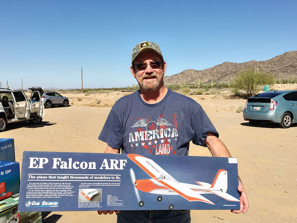 Buddy Long won the EF Falcon aircraft that the Casa Grande RC Flyers gave away in their drawing.