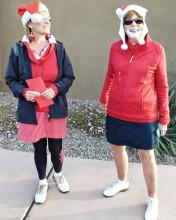 Red Team Santas with shaving cream beards: Layne and Joanne