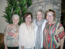 New officers, left to right: Barbara Engelhardt, Ann White, Sandy Christopher and Kay McMurray