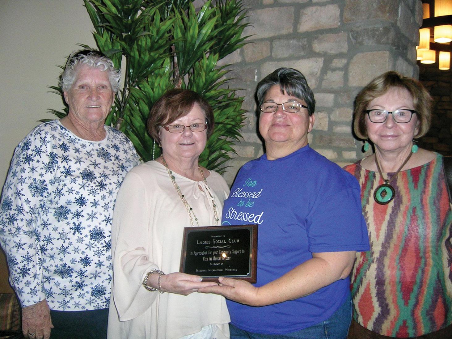 Alice Tipton, Ann White, Pastor Debbie Miller and Kay McMurray