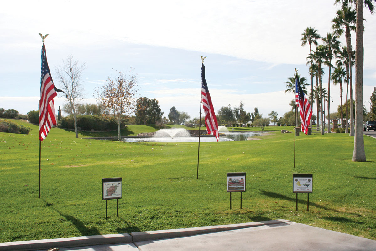 Three special American flags are displayed.