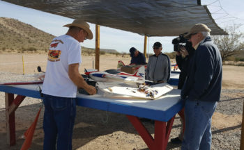 Paul Downey explains some of the finer points of RC Planes to the TV crew.