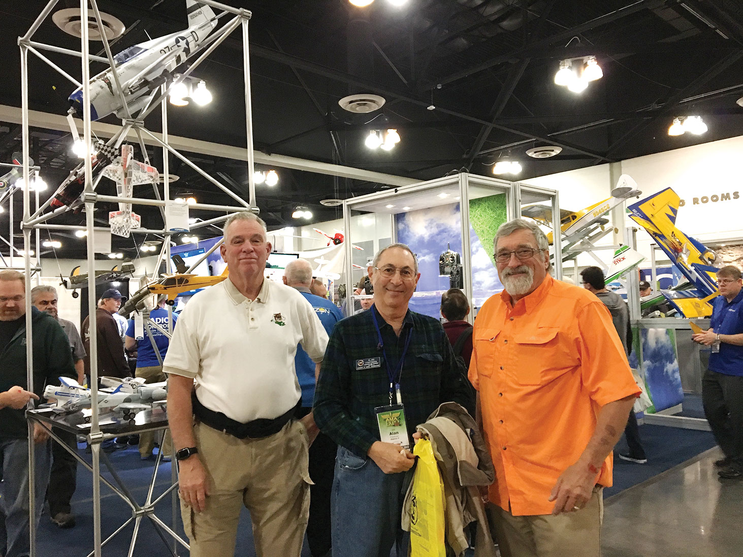 Alan Friedman, center, and another Casa Grande RC Flyers officer and member attending the AMA Expo in Ontario, California in January. The club had four board members and several general members attend.