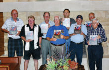 Award winners, left to right: Dennis Clayton, Doug Gordon, Bill White, Bill Engler, Mark McCollum, Eddie Peril, Larry Mason and Neil Evans