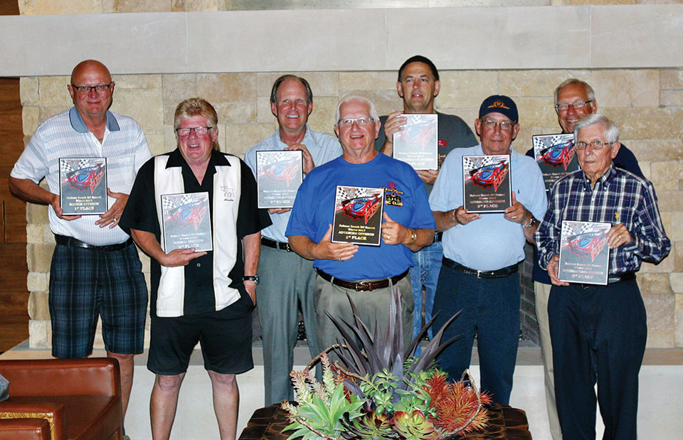 Award winners, left to right: Dennis Clayton, Doug Gordon, Bill White, Bill Engler, Mark McCollum, Eddie Peril, Larry Mason and Neil Evans