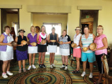 Flight Winners, left to right: 4th Flight: Low Gross Mary Sayer, Low Net Patti Baumann; 3rd Flight: Low Net Robin Barber, Low Gross Cindy Jensen; 2nd Flight: Low Gross Patti Bruchez, Low Net Fran Fowler; 1st Flight: Low Gross Candy Burtis, Low Net Kathy Holwick; Developer's Cup Winner Barbara Gayer