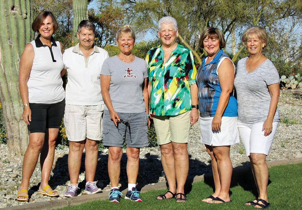 Material Girls 2017-2018 Board Members from left: Joanne Johnson, Secretary; Jackie Marshall, Program Chair; Barb Chmilar, VP; Sue Price, Treasurer; Mary Syer, President; Sharon White, Treasurer