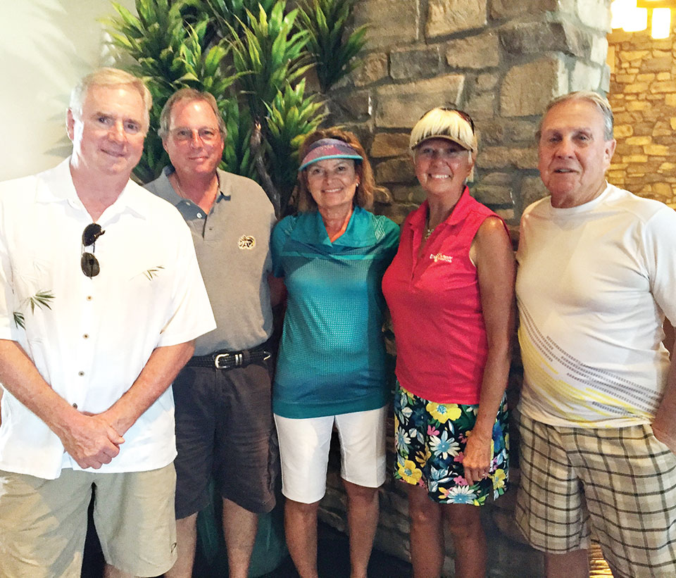 Second place team: Ben Blisset and Craig Spittel; net winners: Mary Kindt and Patty Bruchez and Bob Brozek; Robin Barber is not pictured