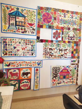 The quilt shown on the design wall will be 92 x 92 and is all appliqued. The design wall allows you to get the perfect picture and readjust the pieces to your satisfaction before sewing it together.