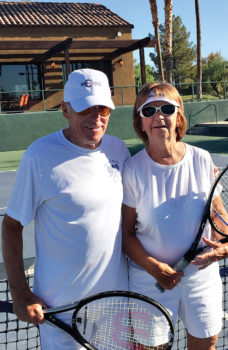"""Andy and Phyllis Gayer participate in the pre-Wimbledon """"wear white"""" tennis event."""