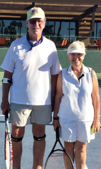 """Bill Christofferson and CJ Azaria participate in the pre-Wimbledon """"wear white"""" tennis event."""