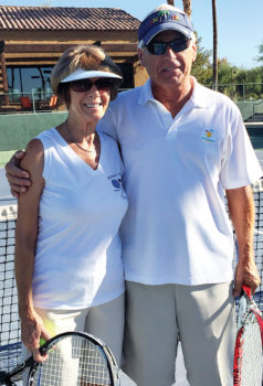 """Cookie and Clyde Smith participate in the pre-Wimbledon """"wear white"""" tennis event."""