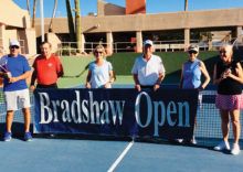Lots of planning goes into the Bradshaw Tournament. Shown holding the banner are Len Vogelaar, Jerry Higgins, Judy Grefsheim, Al Wagner (past co-chairman), Linda Vogelaar, and CTC President Mary Ann Rice.