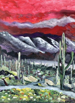Cactus Scene, painting by artist Andy Aitkin.