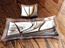 Opal art glass sushi dishes by artist Tracy Hetrick.