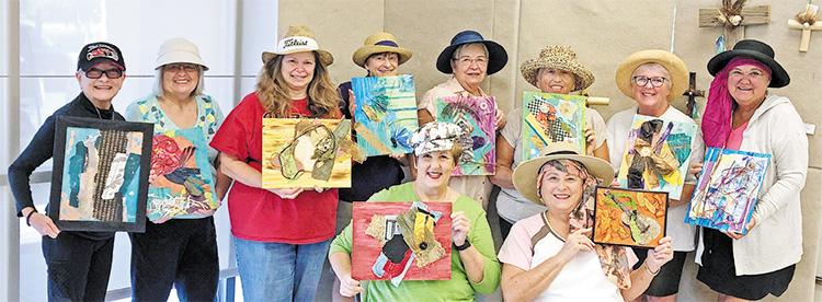 Above: Donned in their safari hats are the guides and adventurers in multimedia (from left to right standing) Jillian Moon, JoAnn Bunyea, Becky Sheffler, Debbie Ellis, Sharon Nergaard, Mary Beth Fisher, Wanda Harper, and Jeana Capel-Jones. Seated are Janet Buckingham and Nancy Friedman.