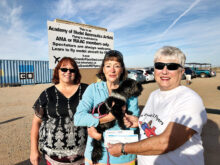 Pictured here, Crystal Fox, Shelter Manager, andDeb Woodard, Valley Humane Society Board President, are accepting checks from Nancy Friedman, Secretary/Treasurer of the Casa Grande RC Flyers in the amounts of $2,000 from the Diane Warren Foundation and $209 from the Robson Ranch Mahjongg group.
