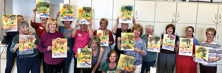 Day two. The artists. Back row (left to right): Karen Kulling, Jean Forsyth, Janet Buckingham, Doreen Beers, Karen Cutrell, Wanda Harper, Jeanne Robinson, Mary Beth Fisher, and Carolyn Gibson; Front row: Becky Sheffler, Marge Mathers, Melanie Douglas, and Paula Lambert.