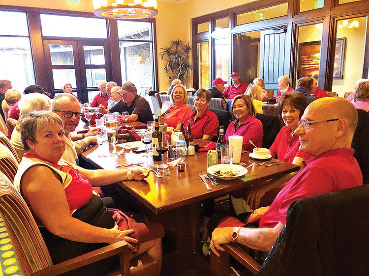 Forty-four players gathered in the Robson Ranch Grill's Fireside Room after the Valentine's Couple's Scramble, for the prize awards and to enjoy beverages and food along with each other's company.