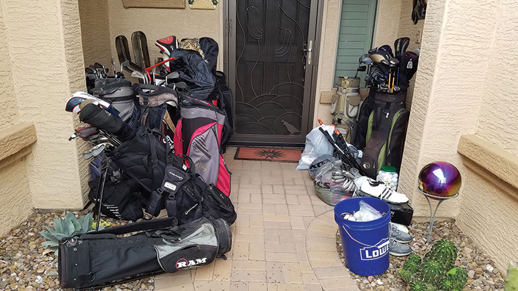 Russ Stocek's front porch, when he returned from a day of golf.