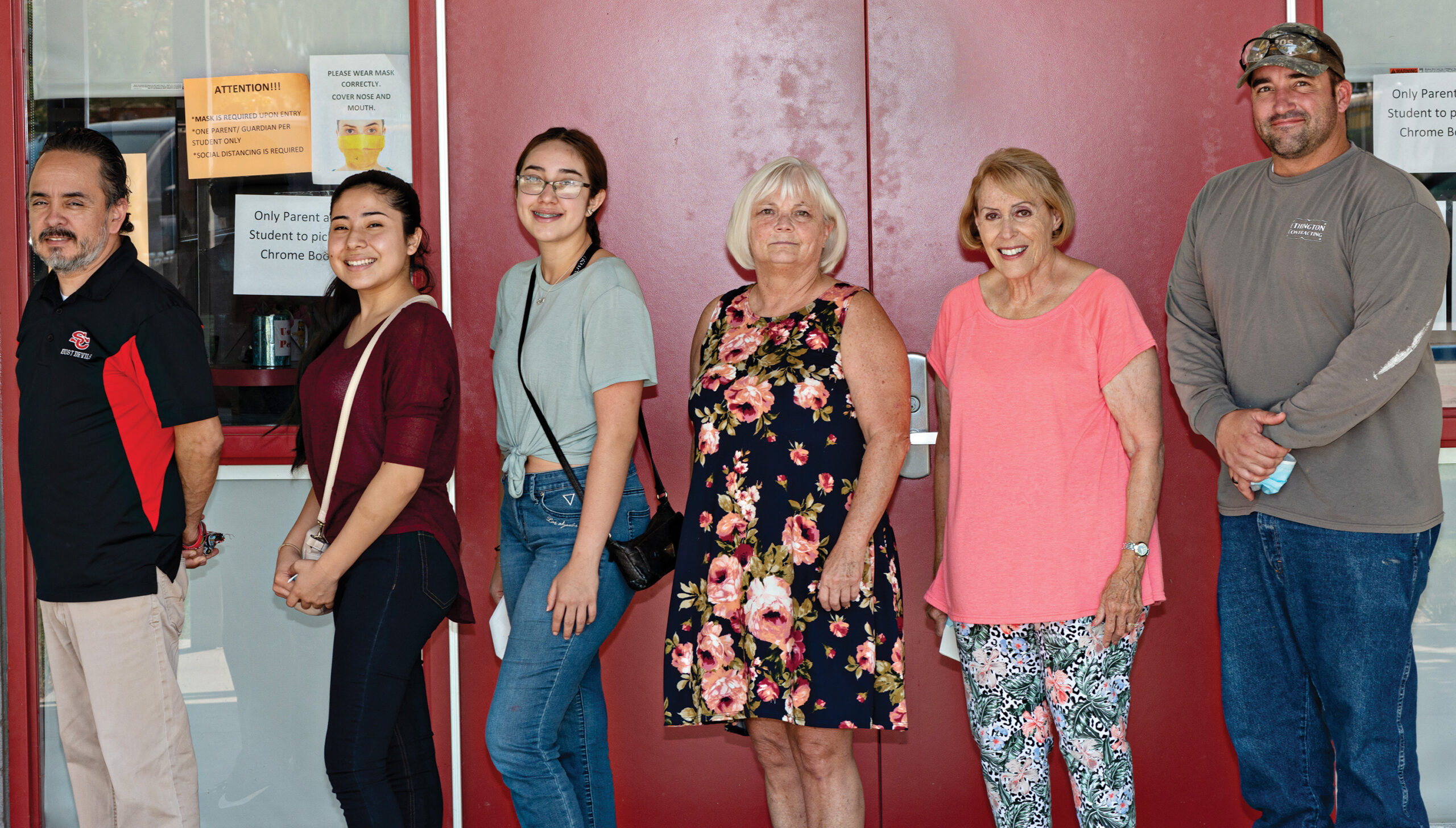 Counselor Frank Jimenez, Magnolia Ramos-Quezada, Stephanie Quinones, Co-Chair Debbie Maxwell,Co-Chair Ruby Herman, and Lily Lea Ethington's father (Lily was at college at the time the picture was taken).