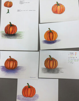 """Artwork from the """"Beginning Colored Pencil"""" demonstration on Oct. 21."""