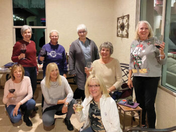 Members of Reading Between the Wines: Betsy, Bobbie, Bea, Sally, Debby, Barbara, Teresa, and Linda