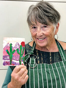 Here Mary Beth is exploring acrylic palette knife painting under the tutelage of Nils Johnson.