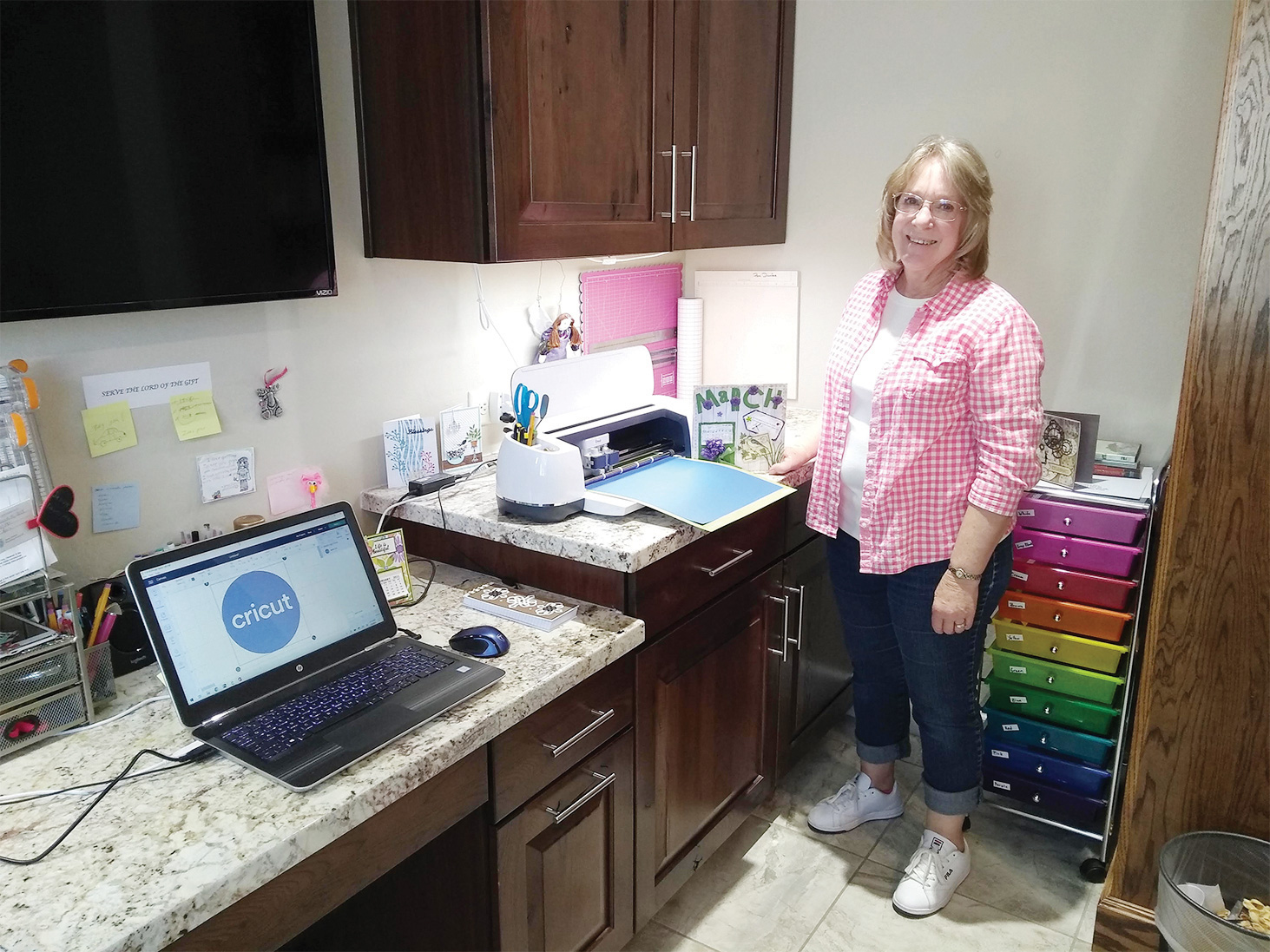 Pam Dunfee in her home craft room
