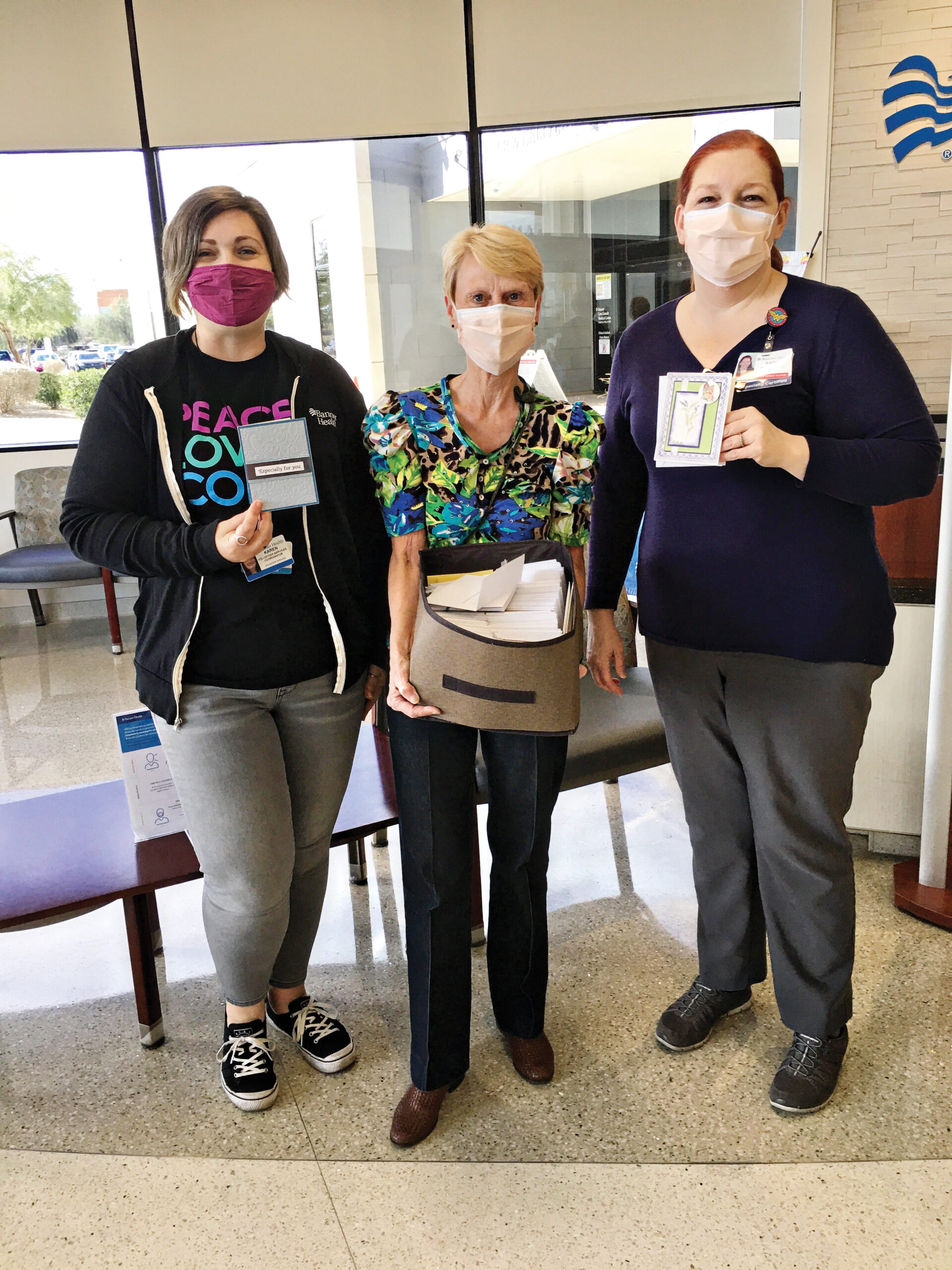 Left to right: Karen Pitman, Volunteer Coordinator; Debra Fosnight, Vice Chair Robson Papercrafting Club; and Kathy Evans, RN, Director of COVID Care