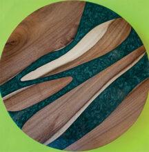Rami Myron's AZ Mesquite Lazy Susan with green/black/white epoxy marble