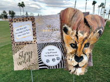 Amazing tee signs created by the committee from palm tree bark.