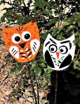 Owls garden stakes by Doris Betuel