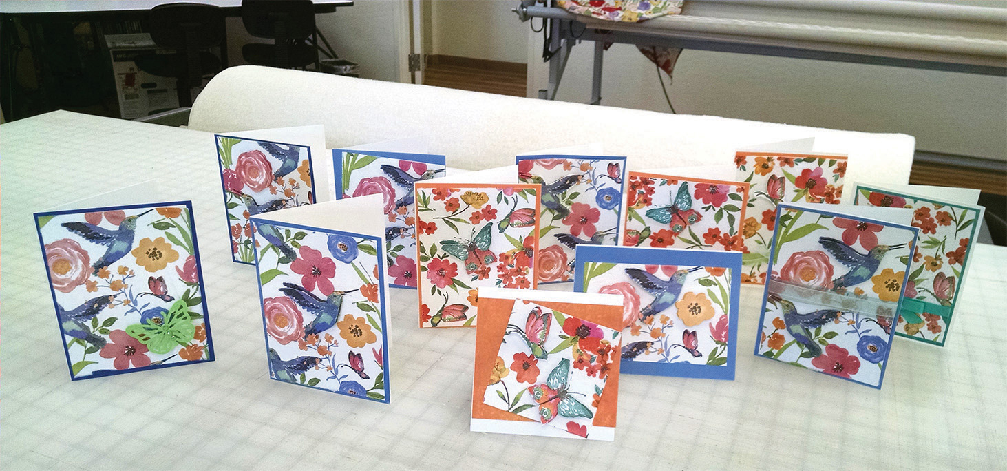 Napkin cards made in class.