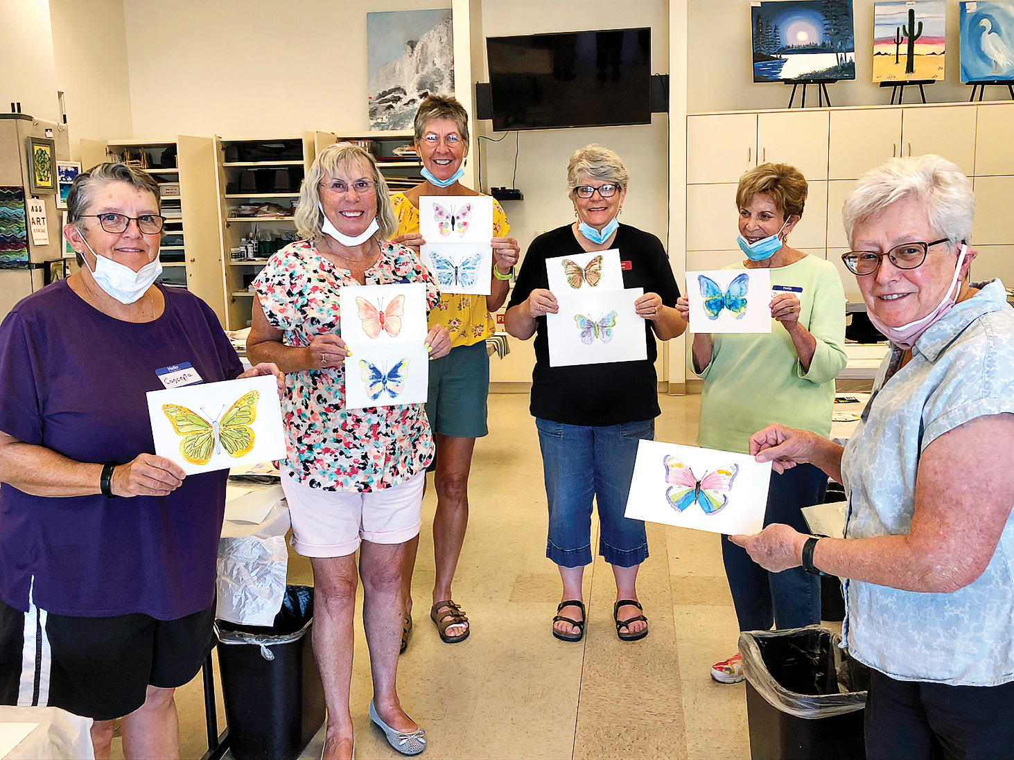 """The following participants got """"the butterflies"""" with Doreen Beers, the lead flyer (left to right): Concepta Savage, Linda Webb, Maryan Hopkins, Doreen Beers, Diana Mikol, and Connie Wiletzky."""
