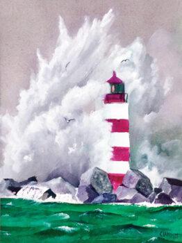 Lighthouse with crashing wave