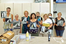 Practicing their shades of gray with Nils Johnson (left to right): Maryan Hopkins, Connie Wiletzky, Laurie Laramie, Mary Hogan, Mary Beth Fisher, Fran Fowler, Concepta Savage, and Margie Thompson