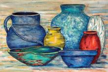 A still life in pots by Susan Halley