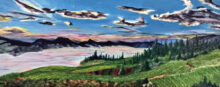 Paul Cassidy's 16-inch by 40-inch painting of the Naramata Bench in the Ojanegar Valley of British Columbia
